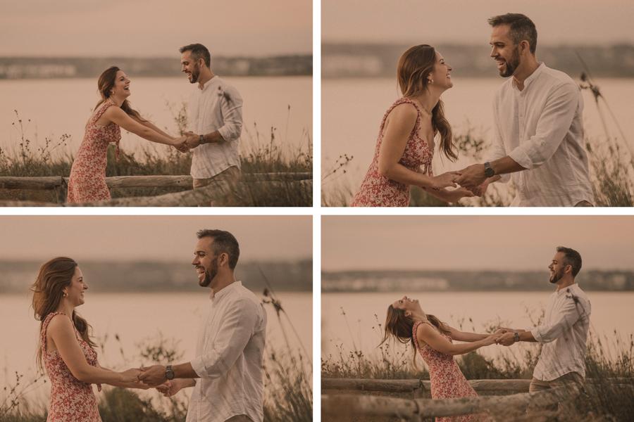 fotos preboda naturales de la pareja jugando