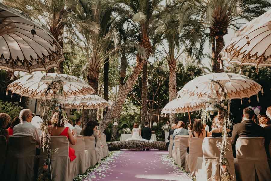 ceremonia en el Jardín Zen en la boda del hotel huerto del cura